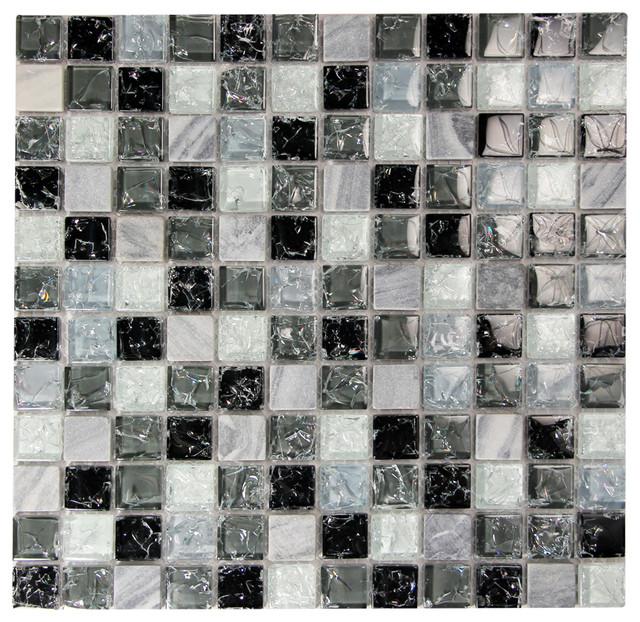 Electra gmc 5 mosaic glass tile grey contemporary for 9x11 bathroom ideas