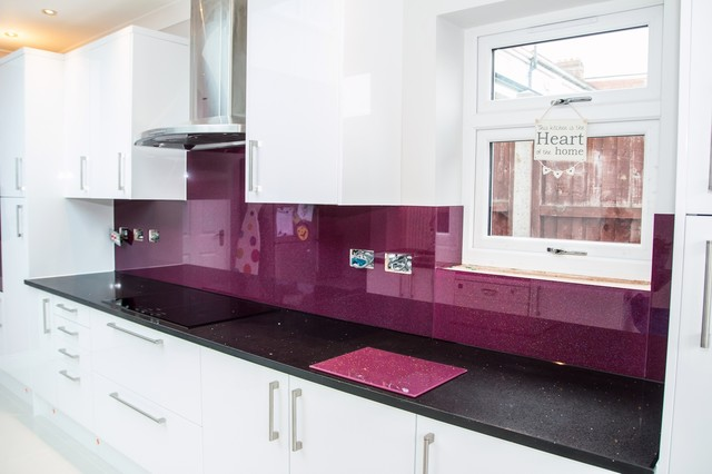 Purple rainbow sparkle glass kitchen splashback modern for Kitchen design 06606