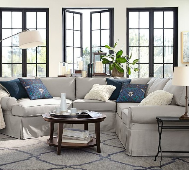 Pb basic slipcovered small 4 piece angled chaise sectional for Small slipcovered sectional sofa