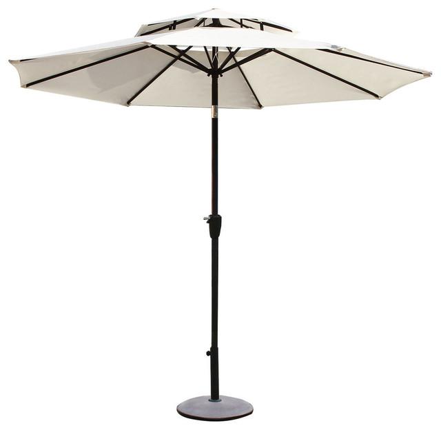 9 outdoor market aluminum 2 layer umbrella white