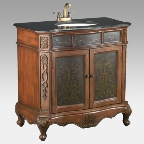 Leith Single Sink Bathroom Vanity With Embossed Panels