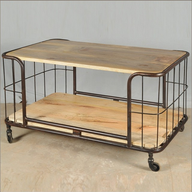 Eclectic Coffee Tables: Industrial Parisian Reclaimed Wood & Iron Rolling Coffee