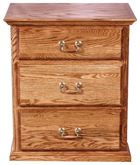Oak 3-Drawer Nightstand traditional-nightstands-and-bedside-tables