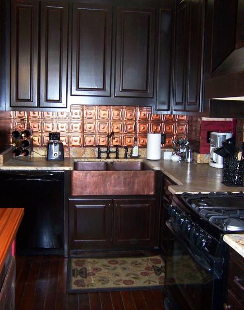 incredible colorful kitchen backsplash tiles | Tin Backsplash - Copper Colored - Contemporary - Tile ...