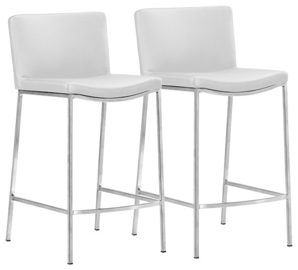 Zuo Curve Stainless And Black Counter Stool Set Of 2