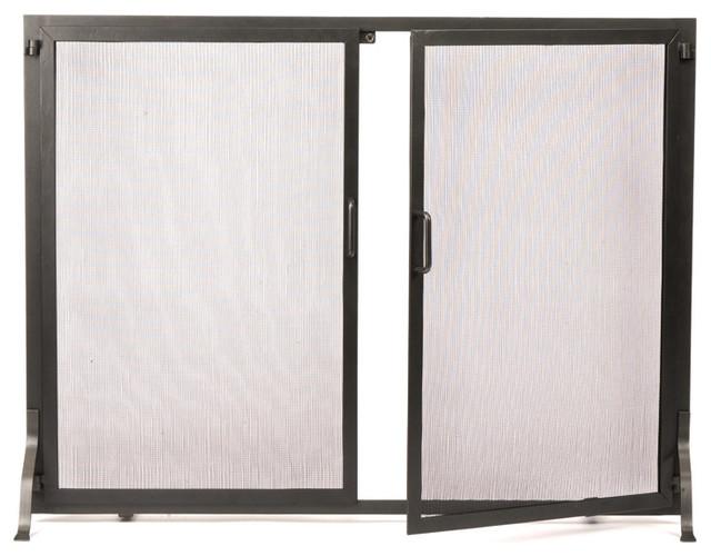 Classic Fire Screen W Doors Wrought Iron Regular Contemporary Fireplace Screens By