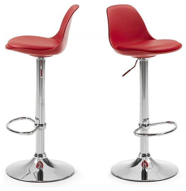 Lot de 2 tabourets de bar design ocala couleur rouge for Chaise et tabouret