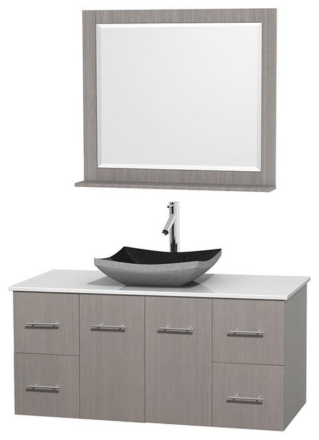 48 Single Bathroom Vanity In Gray Oak Countertop Sink And 36 Mirror Contemporary