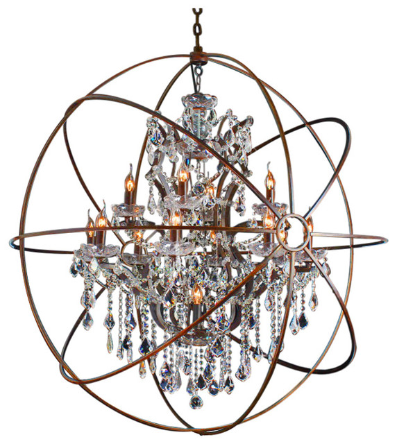 Solaris 12 Light Antique Copper Crystals Chandelier 48