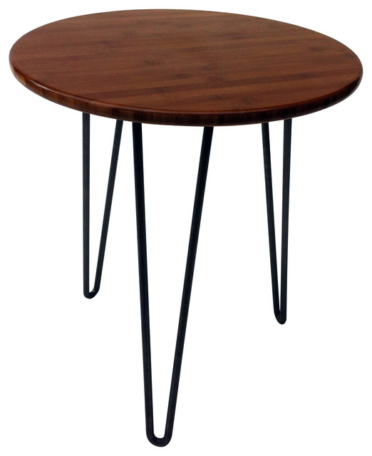 Mid Century Modern Round Caramelized Bamboo Side Table