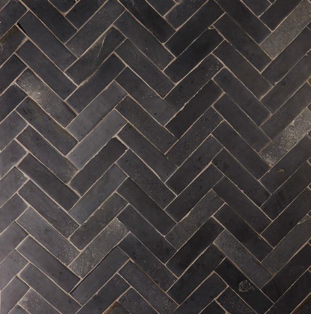 Black limestone floor tiles