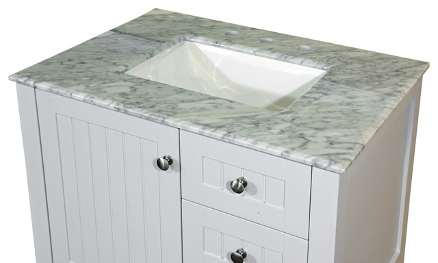 30 in white carrara marble counter top with rectanglar for Marble top console sink