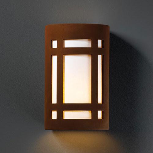 Ambiance real rust small craftsman window bathroom wall for Modern craftsman lighting