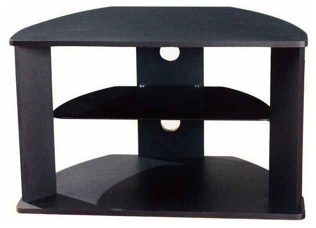 4D Concepts Corner TV Stand with Glass Shelf in Black ...