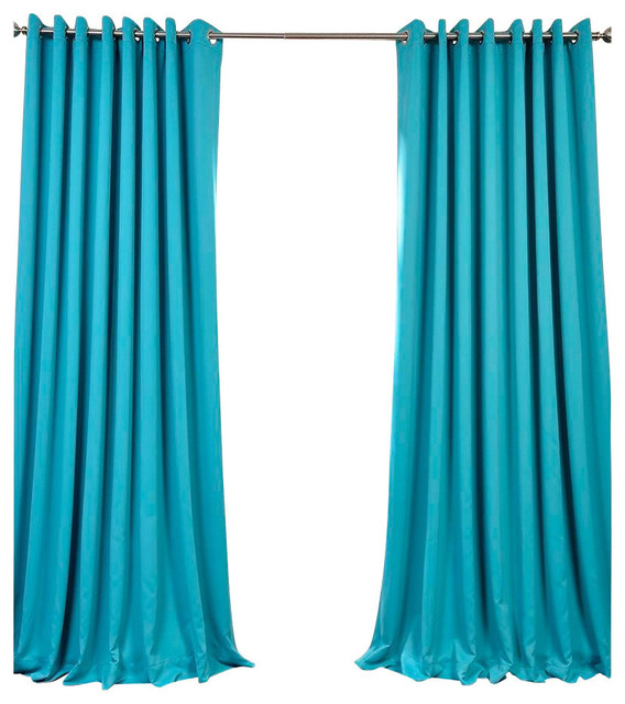 Turquoise Blue Grommet Doublewide Blackout Curtain Single Panel 100 X96 Contemporary