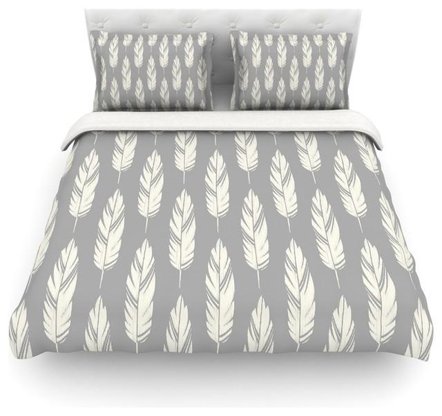 Feather Print Bedding Amanda Lane Quot Feathers Gray Cream