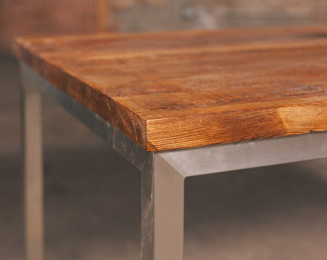 Reclaimed Wood Table with Stainless Steel Base Rustic  : rustic dining tables from www.houzz.com size 640 x 510 jpeg 41kB