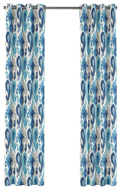 aqua blue ikat grommet curtain single panel modern curtains by