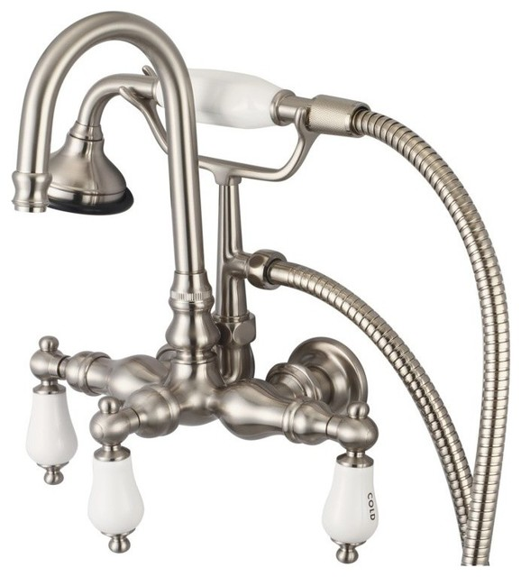 Vintage Classic Wall Mount Tub Faucet W Handshower Brushed Nickel Finish Wit