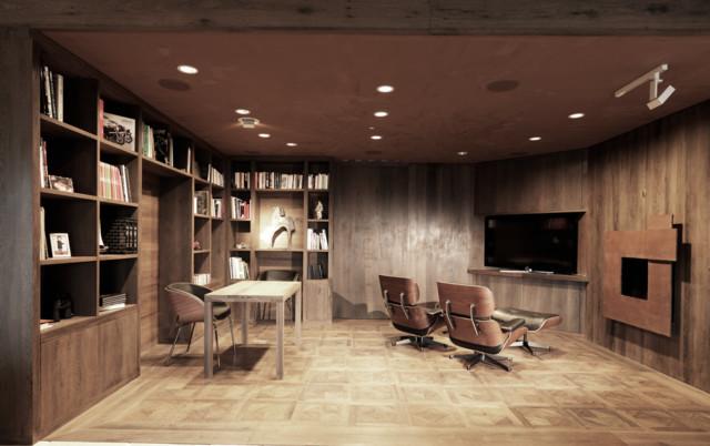 biblioth que bureau salon tv contemporain other metro par dcr interieurs. Black Bedroom Furniture Sets. Home Design Ideas
