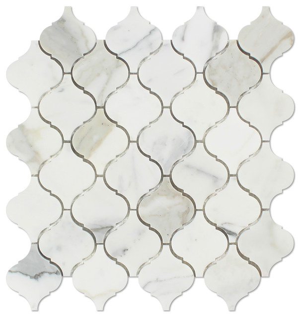 White Marble Arabesque Side Table: Calacatta Marble Polished Arabesque Mosaic Tile, Gold, 1