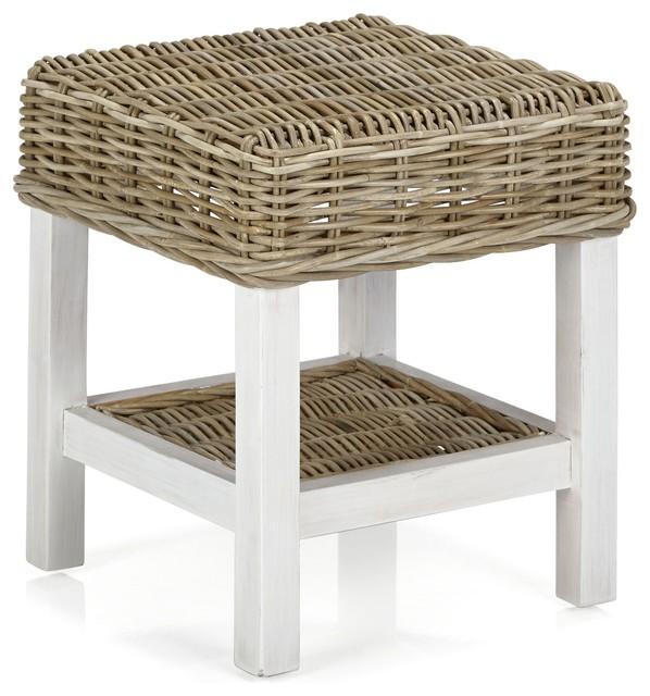 kubu chevet en rotin naturel et blanchi campagne table de chevet et table de nuit par. Black Bedroom Furniture Sets. Home Design Ideas