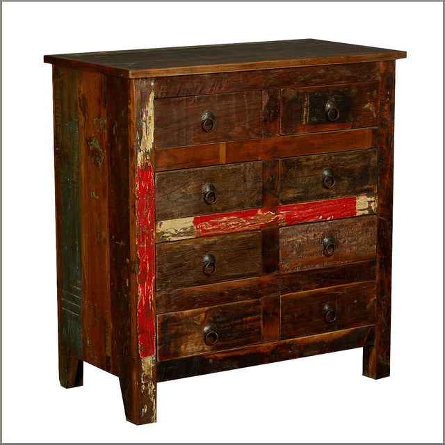 Rustic 8 drawers dresser standing chest reclaimed wood for Reclaimed wood furniture san francisco