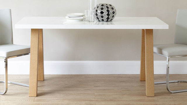 Zen 6 seater white gloss and oak dining table for Danetti dining table
