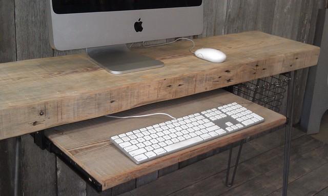 Reclaim wood computer desk desks and hutches chicago for All wood computer desk