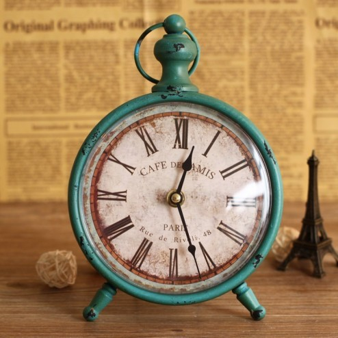 Blue Antique Style Cafe Mantle Clock - Contemporary
