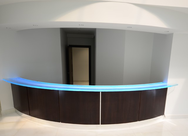 Glass Reception Desk Modern Tampa By Downing Designscom