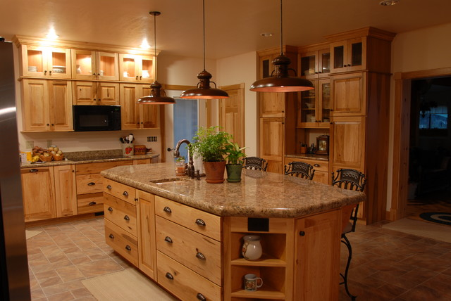 Rustic look with Hickory cabinets from KraftMaid - Rustic - other ...