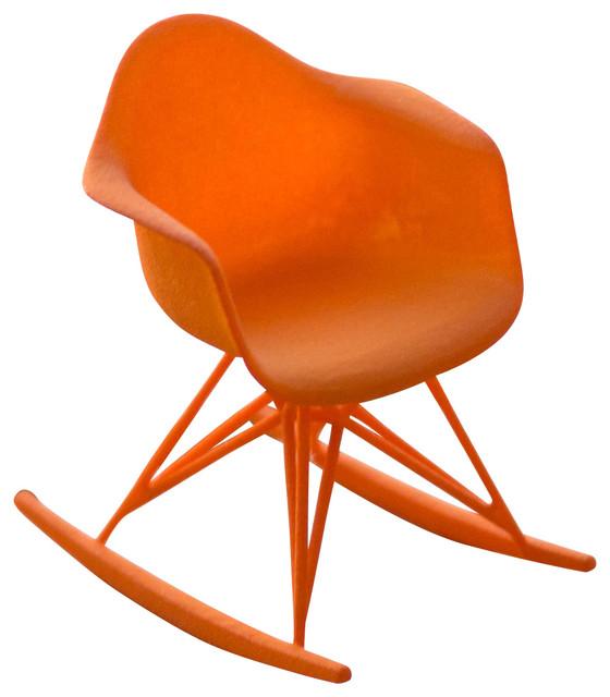 3d printed miniature eames rocker chair orange midcentury decorative