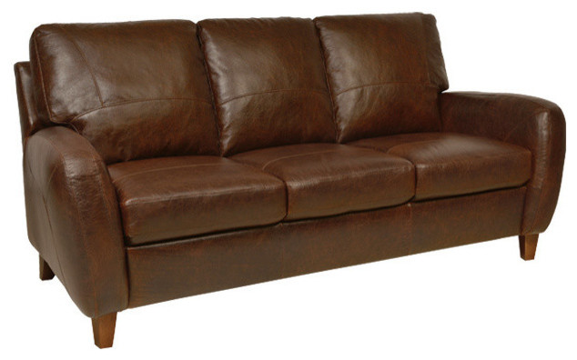 Genuine italian leather sofa in antique tan traditional for Genuine italian leather sectional sofa