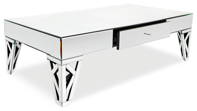 Azure Mirrored Glass Coffee Table Contemporary Coffee Tables
