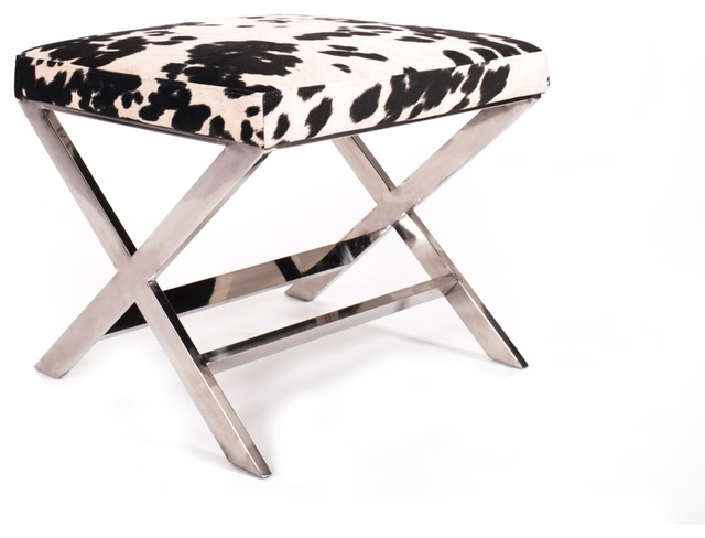 Diddle Velvet Faux Cow Hide X Leg Ottoman Udder Madness Black Transitional Footstools And