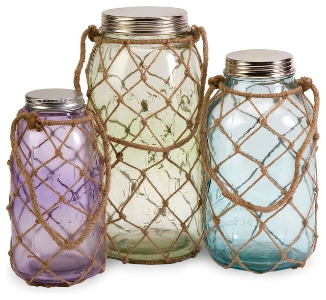 pastel coastal marci decorative glass jars set of 3. Black Bedroom Furniture Sets. Home Design Ideas