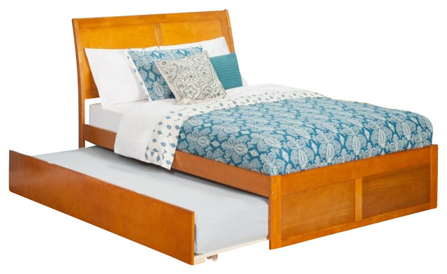 Atlantic Furniture Portland Bed With Urban Trundle In Caramel Latte Full Size