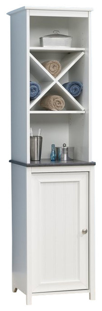 Sauder Caraway Linen Tower in Soft White - Contemporary - Bathroom Cabinets And Shelves - by Cymax