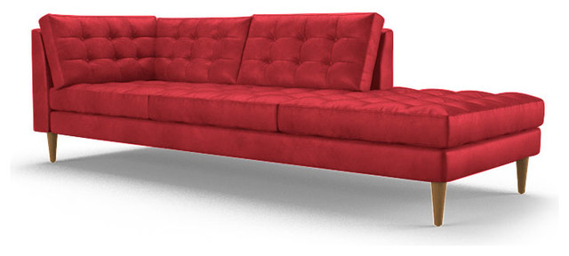 Eliot leather bumper chaise brighton parrot red for Ava chaise lounge
