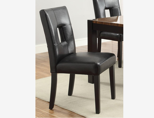 2 PC Modern Black Wood Dining Chairs Leather Seat Back 103612BLK