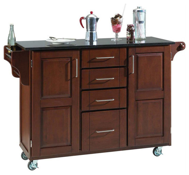 home styles furniture granite kitchen cart in cherry
