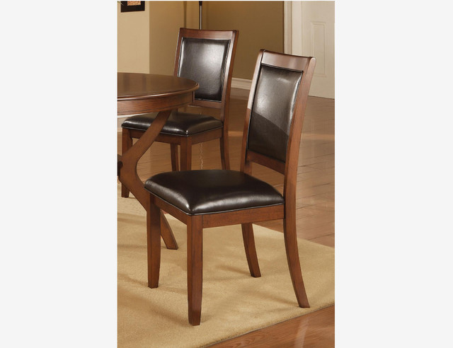 2 pc modern deep brown wood dining chairs leather seat