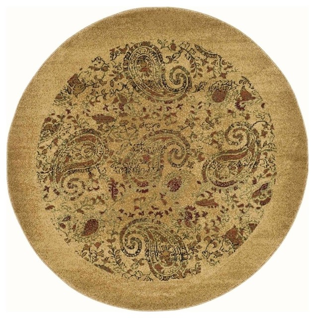 Synthetic Fiber Round Rug In Beige 8 Ft Contemporary