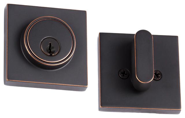 SquareModern Single Cylinder Deadbolt, Vintage Bronze - Modern - Door Locks - by Sure-Loc ...