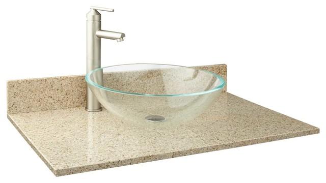 31 X 19 Narrow Depth Granite Vessel Sink Vanity Top Traditional Bathroom Vanities And Sink