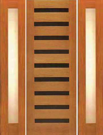 Single door two sidelites modern horizontal heavy iron for Modern single main door designs