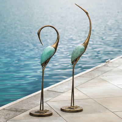 Set Of Two Crane Statues Traditional Garden Statues And Yard Art By Grandin Road