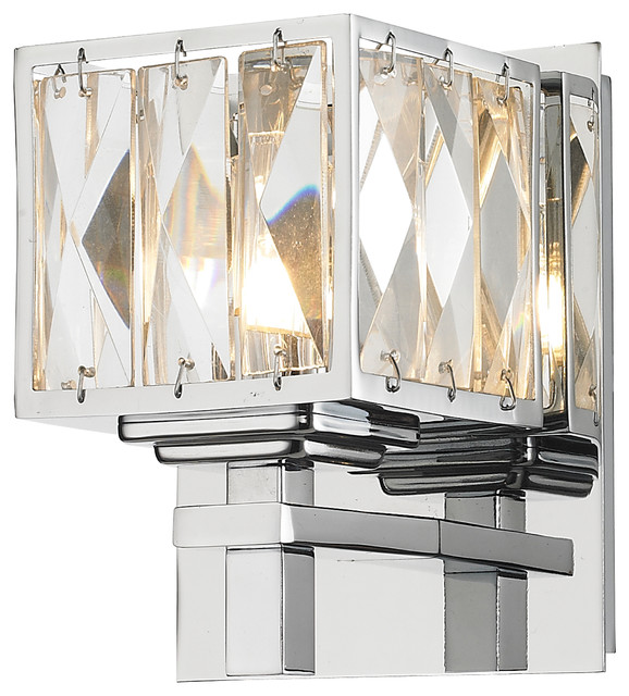 Neeva 1 Light Bath Vanity In Chrome Finish With Faceted Crystal Glass Conte