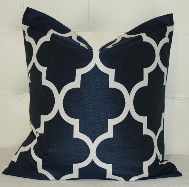 Navy Blue Decorative Bed Pillows : Navy Blue Quatrefoil Pillow Cover - Contemporary - Decorative Pillows - new york - by ZZZ Boutique